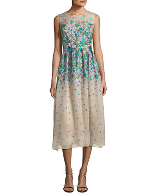 Lela Rose Sleeveless Floral Brocade Midi Dress