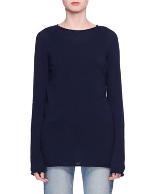 Nolita Crewneck Long-Sleeve Cashmere-Silk Sweater, Blue
