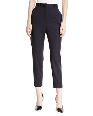 High-Waist Cigarette Grain de Poudre Wool Trousers