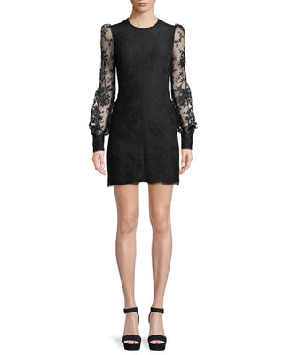Alexander McQueen Long-Sleeve Fitted Sarabande Lace Cocktail