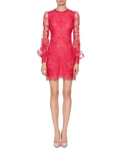 Long-Sleeve Fitted Sarabande Lace Cocktail Dress