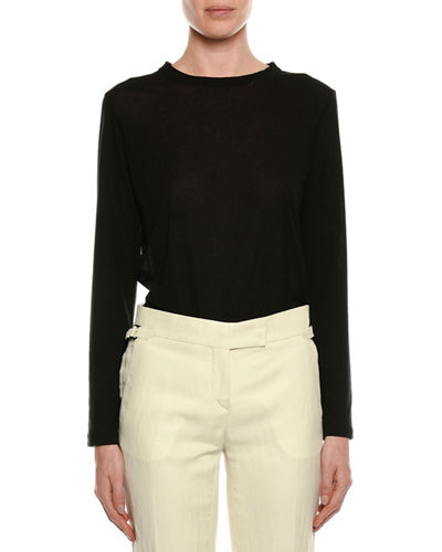 Long-Sleeve Round-Neck Cotton Top