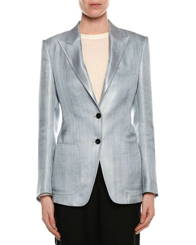 Two-Button Menswear Twill Blazer