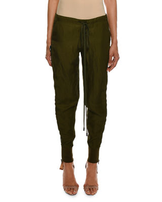 Image 1 of 5: Drawstring Side-Zip Slouchy Track Pants