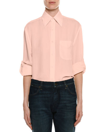 Stretch-Charmeuse Button-Down Blouse