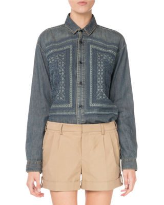 Button-Front Embroidered Cotton Denim Shirt