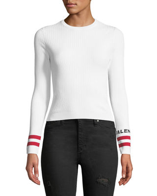 Image 1 of 3: Crewneck Long-Sleeve Rib-Knit Pullover Top with Logo Cuffs