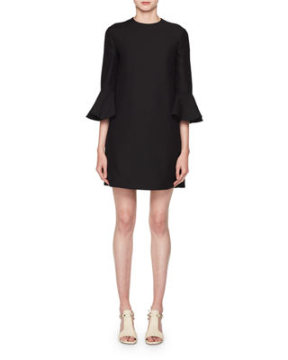 Crewneck 3/4-Sleeve Straight Crepe Couture Dress
