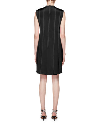 Image 2 of 2: High-Neck Sleeveless Pleated-Bottom Short Dress w/ Contrast Topstitching