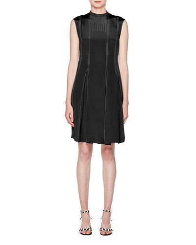 High-Neck Sleeveless Pleated-Bottom Short Dress w/ Contrast Topstitching