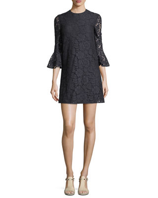 Donna Cotton-Blend Corded Lace Mini Dress, Navy