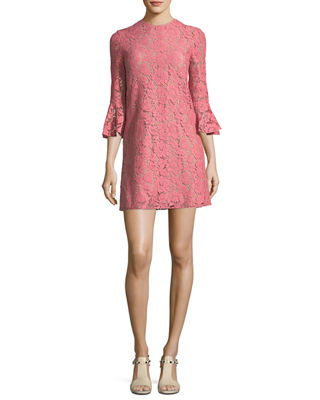 3/4-Sleeve Heavy Lace Shift Dress