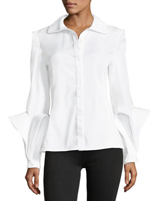 Spread-Collar Button-Front Cotton Blouse