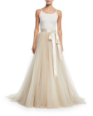 Jenny Packham Tulle Ball Skirt with Ribbon Belt