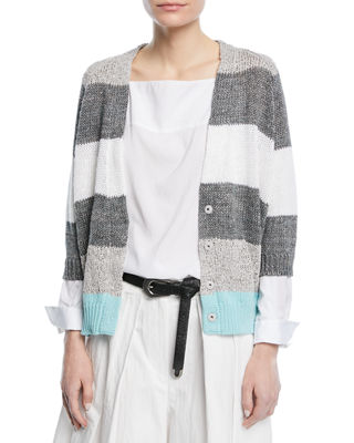 Image 1 of 4: Coated Rugby-Stripe Cardigan with Metallic