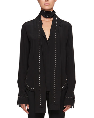 Scarf-Neck Crepe De Chine Silk Shirt w/ Rhinestone Embroidery
