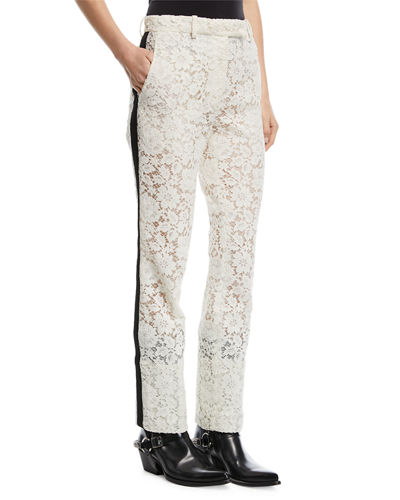 CALVIN KLEIN 205W39NYC Lace Tuxedo-Stripe Pants and Matching