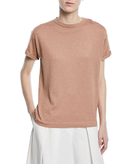 Brunello Cucinelli  CREWNECK SHORT-SLEEVE CASHMERE LUREX® T-SHIRT
