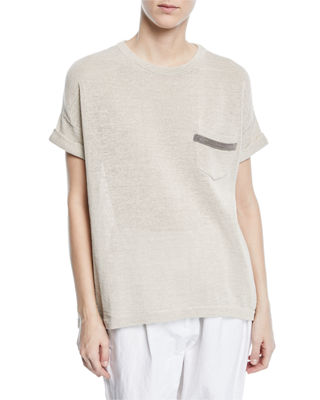 Brunello Cucinelli Crewneck Short-Sleeve Cotton T-Shirt with