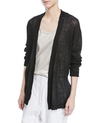 Linen-Silk Open-Front Paillette Cardigan with Belt