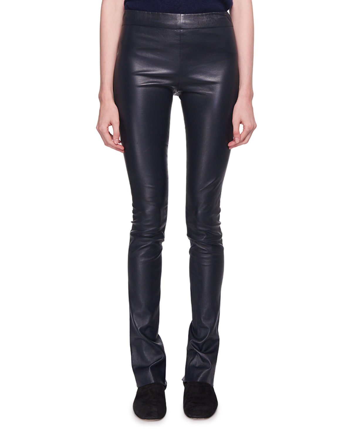 Dorcarr Split-Cuffs Fitted Lamb Leather Pants