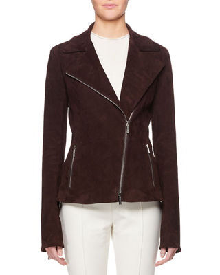 Paylee Asymmetric Zip-Front Suede Leather Moto Jacket, Mahogany
