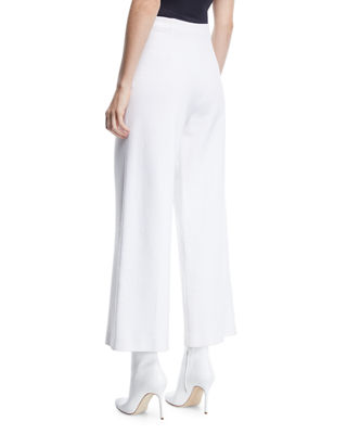 Image 2 of 3: High-Rise Wide-Leg Interlock Jersey Cropped Trousers