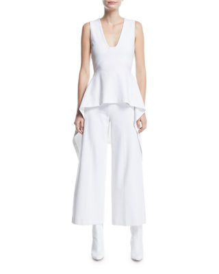Image 3 of 3: High-Rise Wide-Leg Interlock Jersey Cropped Trousers