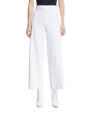 Image 1 of 3: High-Rise Wide-Leg Interlock Jersey Cropped Trousers