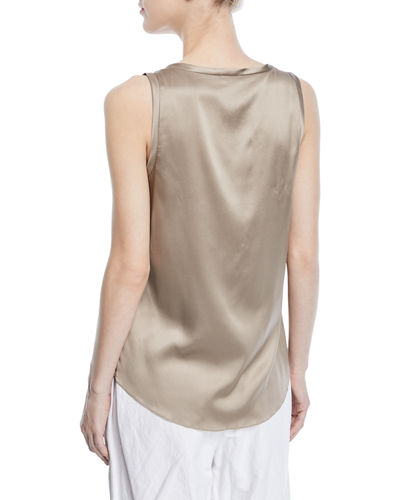 Silk-Stretch Reversible Scoop-Neck Tank Top