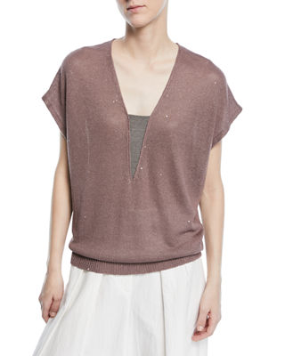 Brunello Cucinelli V-Neck Cap-Sleeve Paillette Top with Monili