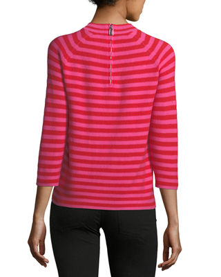 Image 2 of 2: Mock-Neck Elbow-Sleeve Striped Sweater