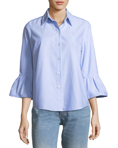 Button-Front 3/4 Sleeve Cotton Poplin Shirt