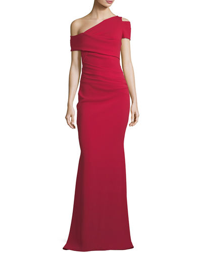Off-the-Shoulder Fishtail Stretch-Crepe Evening Gown