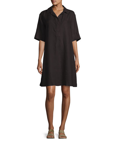 Lucy Collared Half-Sleeve Linen Shift Dress