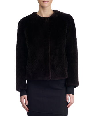 Round-Neck Long-Sleeve Beaver Fur Jacket