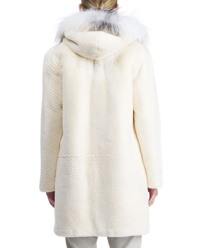 Zip-Front Hooded Beaver Fur Coat with Fox Fur Trim
