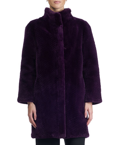 Stand-Collar Beaver Fur Coat