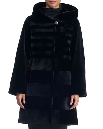 Sheared Horizontal Mink Hooded Stroller Coat