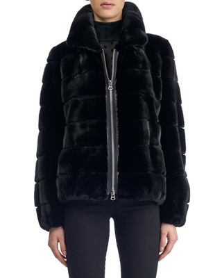 Zip-Front Horizontal Mink Short Jacket