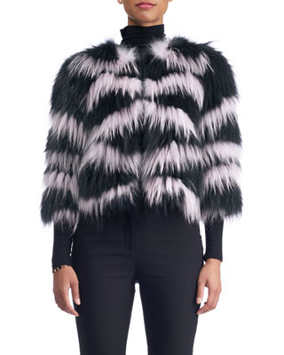 3/4 Sleeves Layered Fox Fur Cropped Jacket