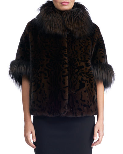 Mink Jacket with Fox Fur Stand Collar and Cuff