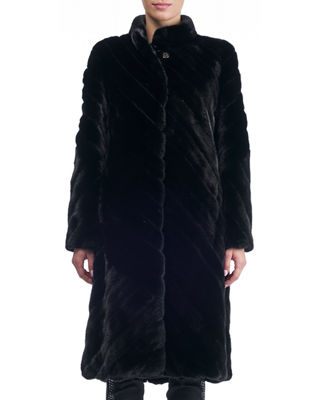 Stand-Collar Diagonal Mink Coat