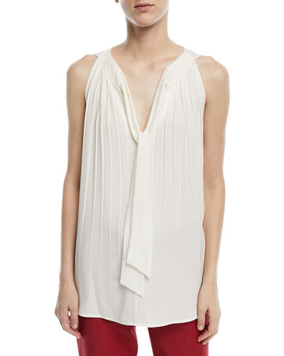 Sleeveless Tie-Front Plisse Blouse