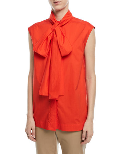 Sleeveless Cotton Poplin Blouse with Tie