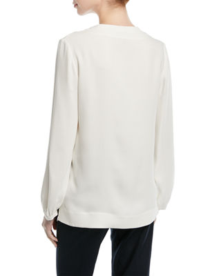 Image 2 of 2: V-Neck Long-Sleeve Silk Tunic