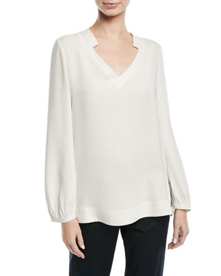 Image 1 of 2: V-Neck Long-Sleeve Silk Tunic