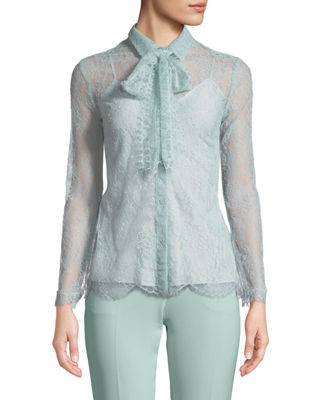 Escada Long-Sleeve Chantilly Lace Blouse with Removable Tie