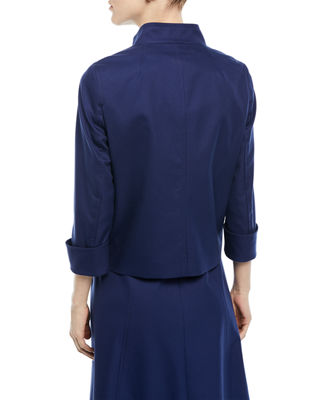 Image 2 of 2: Button-Front 3/4-Sleeve Cotton Pique Jacket