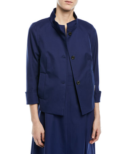 Button-Front 3/4-Sleeve Cotton Pique Jacket